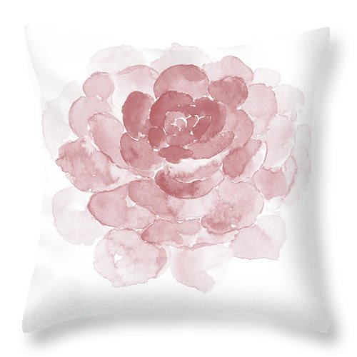 full single pink succulent watercolor throw pillow
