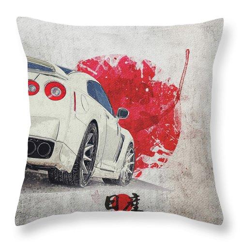 nissan gt r r35 skyline cba r35 race car throw pillow