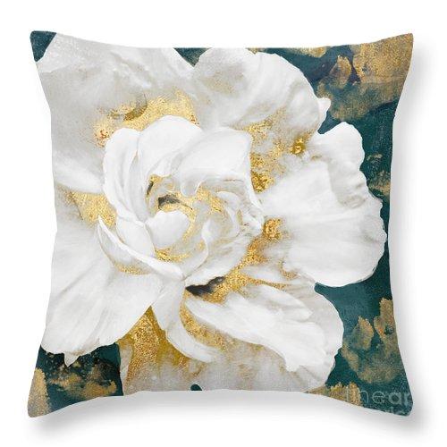 petals impasto white and gold throw pillow