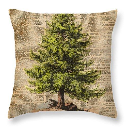 pine tree cedar tree forest nature dictionary art christmas tree throw pillow