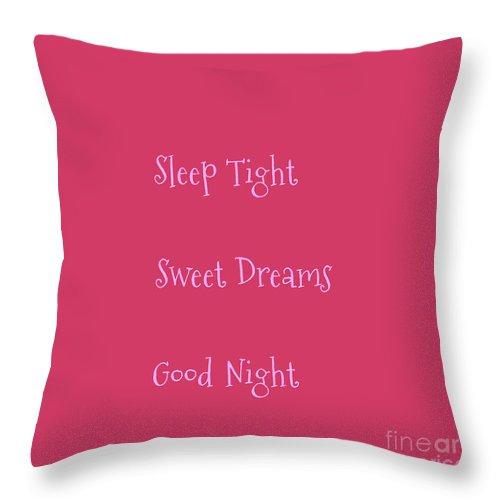 sleep tight sweet dreams goodnight pink throw pillow