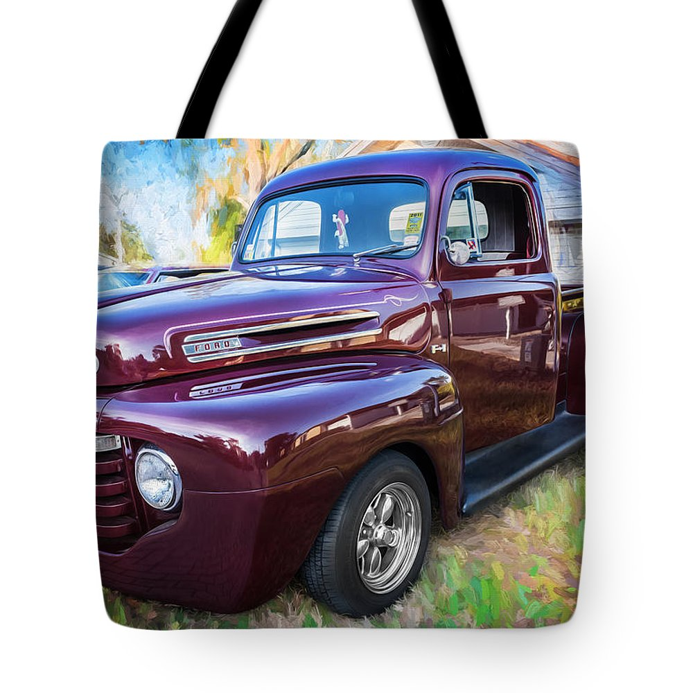 1949 ford truck tote bag featuring the photograph 1949 ford pick up truck f1 painted by [ 1000 x 1000 Pixel ]