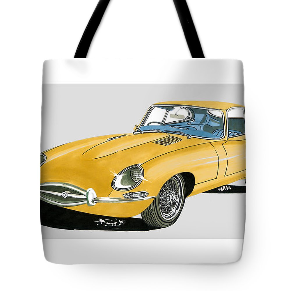 jack s car art of a 1967 jaguar xke coupe tote bag featuring the painting 1967 [ 1000 x 1000 Pixel ]