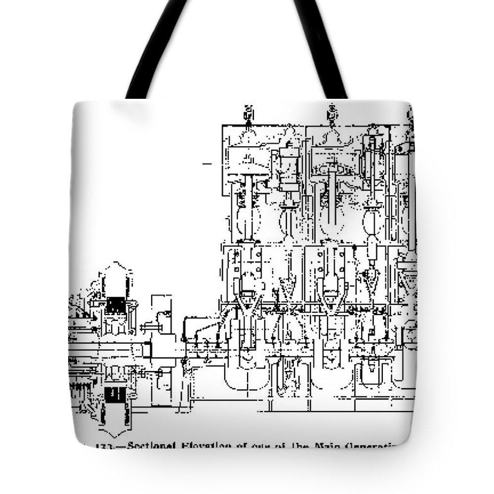 science tote bag featuring the photograph steam engine diagram titanic 1911 by science source [ 1000 x 1000 Pixel ]
