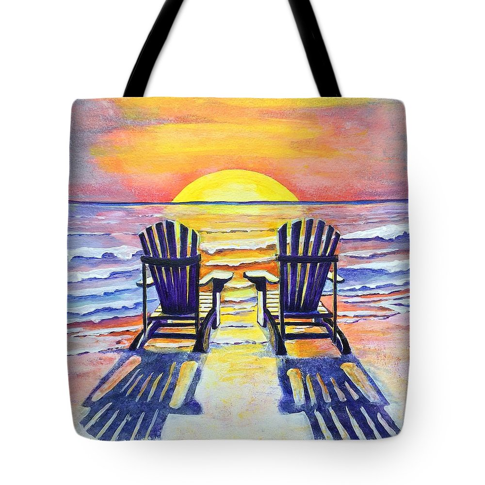 Beach Chairs On Sale Beach Chairs At Sunset Tote Bag