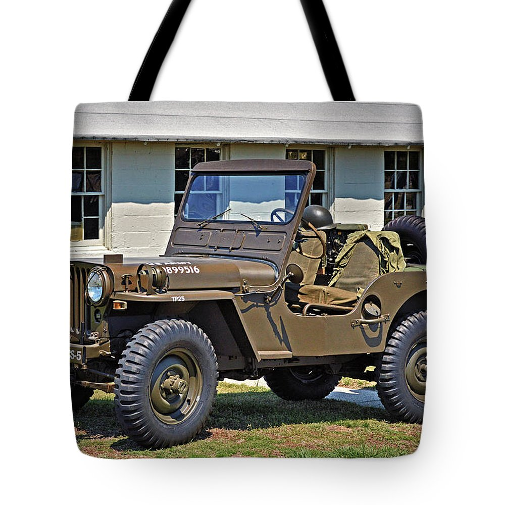 hight resolution of resorted tote bag featuring the photograph restored willys army jeep at fort miles by bill swartwout