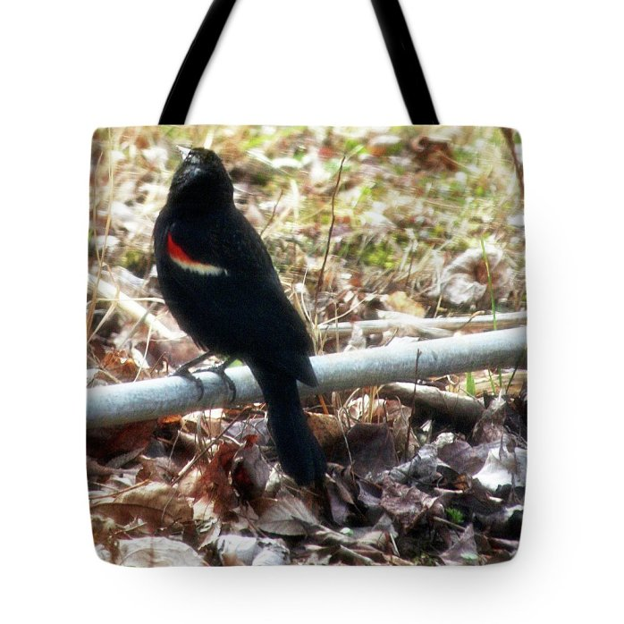 Nature Tote Bag featuring the photograph Red Winged Black Bird by Holly Morris