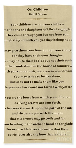 Khalil Gibran Quotes On Children : khalil, gibran, quotes, children, Kahlil, Beach, Towels, Pixels
