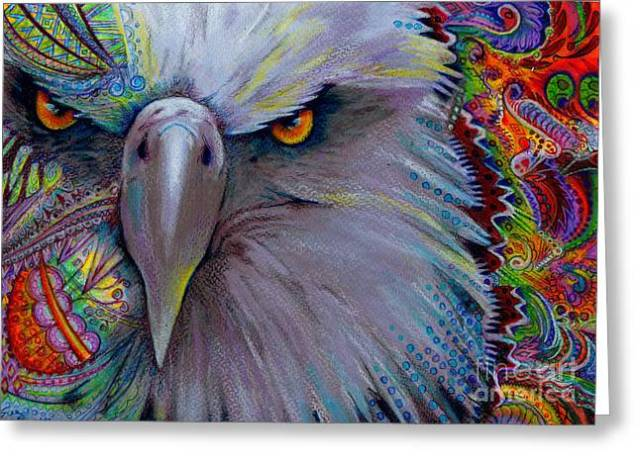 Eagle Eye Greeting Card Sue Perez Jpg 646x469 Eagle Eye Painting