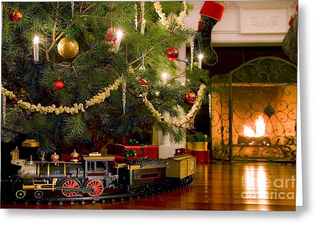 Train Christmas Card Greeting Cards For Sale