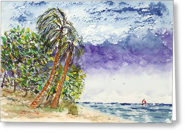 Palm Trees And Sailboat Painting By JC Prida
