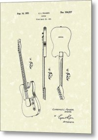 Fender Guitar 1951 Patent Art Drawing by Prior Art Design