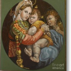 Madonna Of The Chair Cheap 6 Dining Tables Painting By Bellacopiadarte Artworks Metal Print
