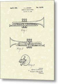 Trumpet 1940 Patent Art Drawing by Prior Art Design