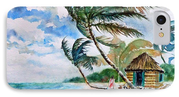 Beach With Palm Trees Painting By Carolyn Jarvis