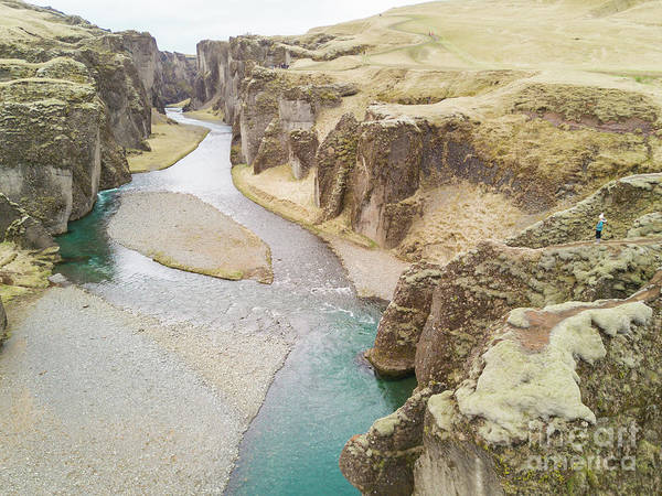 Fjadrargljufur Canyon Iceland Aerial Photograph by Christy Woodrow