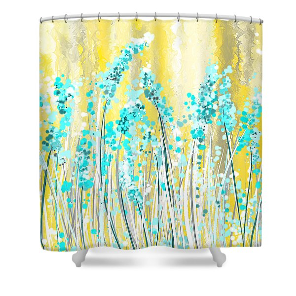 teal and yellow shower curtain