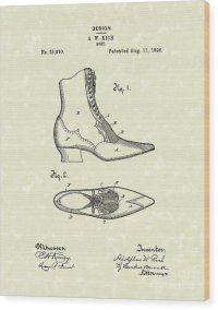 Boot Design 1896 Patent Art Drawing by Prior Art Design