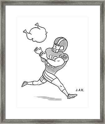 A Football Player Poises To Catch A Turkey Drawing by