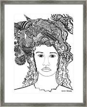 wild hair portrait in shapes