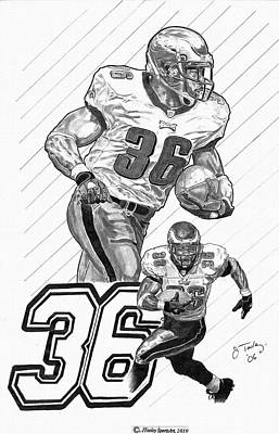 Brian Westbrook Drawing by Jonathan Tooley