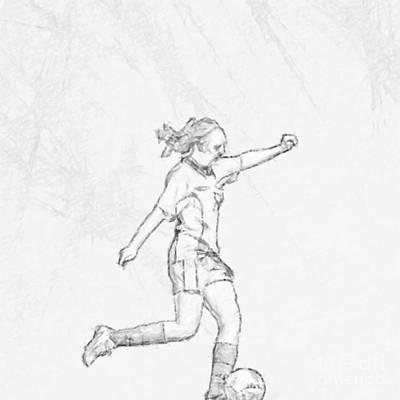 Girl Soccer Player Charcoal Sketch Digital Art by Randy Steele