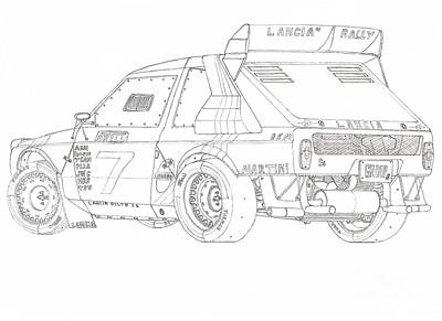 85'lancia Delta S4 Group B Rally Car Drawing by Kaan Ipek