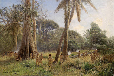 soldiers in african tropical landscape
