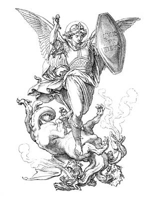 St. Michael The Archangel Fighting Dragon by Grafissimo
