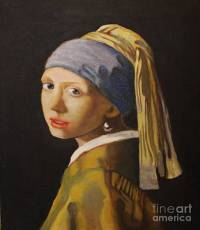 Lady With The Pearl Earring Painting by Sue La Marr Kramer