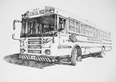 School Bus 66 Drawing by Jake Jacobs