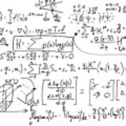Complex Math Formulas On Whiteboard. Mathematics And