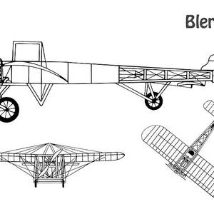 Bleriot Xi Airplane Blueprint. Drawing Plans Or Schematics