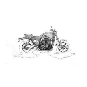 Yucky Yamaha V-max Drawing by Stephen Brooks