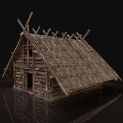 Fantasy Medieval Viking Wooden Cottage 3D Model