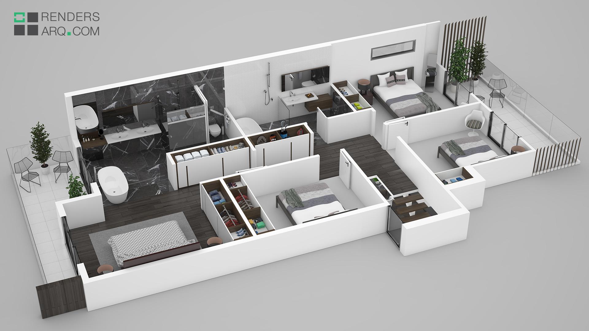 Plantas 3D  Renders Arquitectura