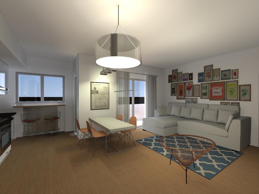 Soggiorno appartamento arancione  Render e progetti Veloci