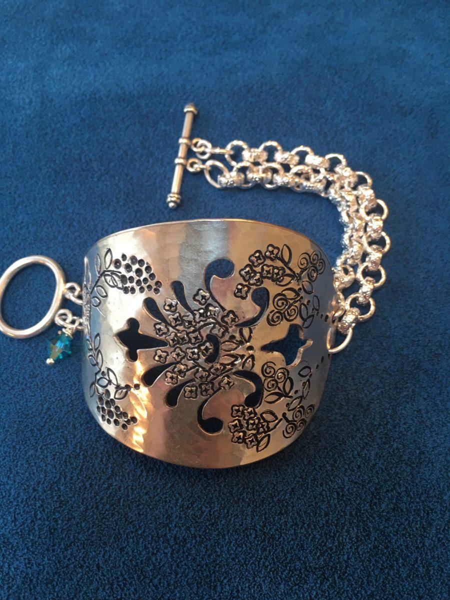 Floral vintage serving spoon bracelet