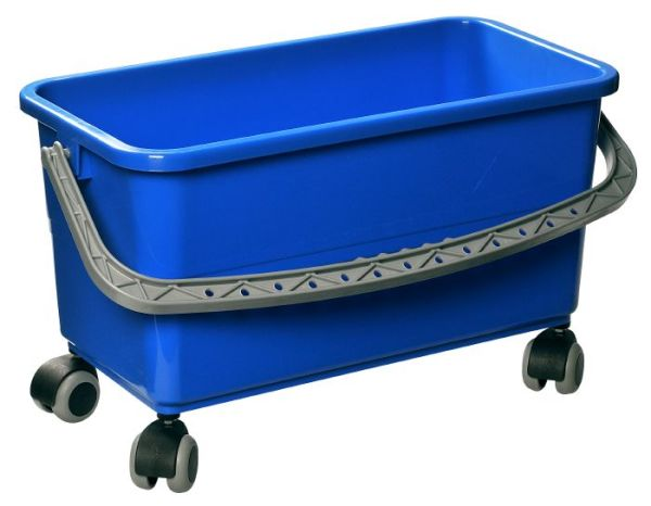 Spand 22 l. blå, med hjul