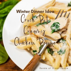 Winter Dinner Idea: Crock Pot Creamy Chicken Penne | Renée at Great Peace #mealplanning #familydinnerideas #dinnerideas #chicken