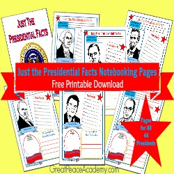 Just the Presidential Facts Free Printable Download from Great Peace Academy