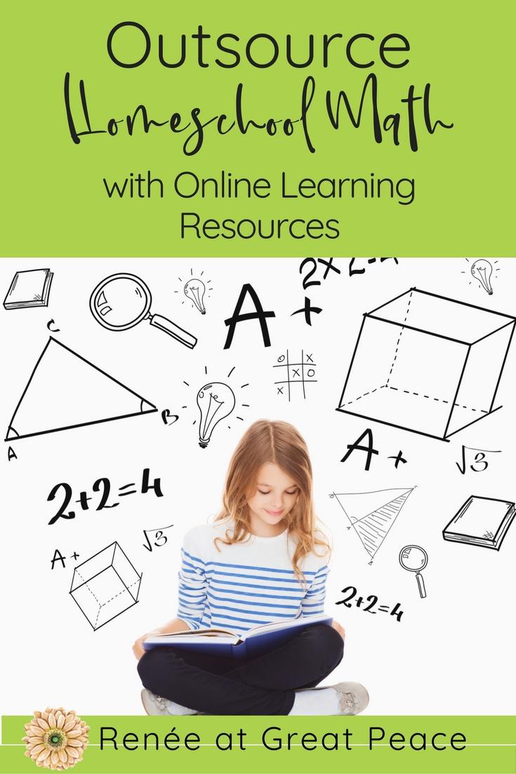 10 Resources for Outsourcing Homeschool Math Instruction via Renée at Great Peace  #math #homeschooling #ihsnet