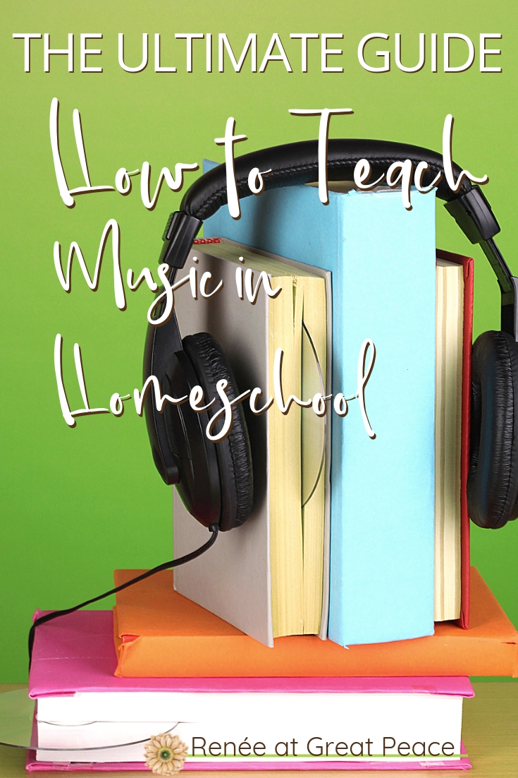 How to Teach Music in Homeschool~Teaching music in homeschool can be daunting thats why I've pulled together this Ultimate List to help you teach Music in Homeschool. | Renée at Great Peace #homeschool #music #muiscappreciation #ihsnet