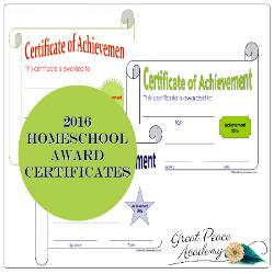 Free Printable 2016 Homeschool Award Certificates   GreatPeaceAcademy.com