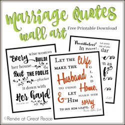 Marriage Quotes Wall Art Printable | ReneeatGreatPeace