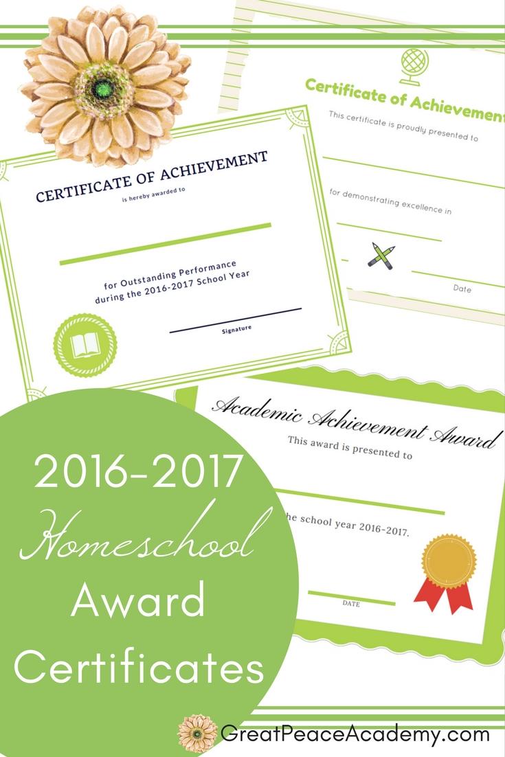 Award your homeschool students w/ these 2016-2017 Homeschool Award Certificates | Free Printables @GreatPeaceAcademy.com #ihsnet #homeschool