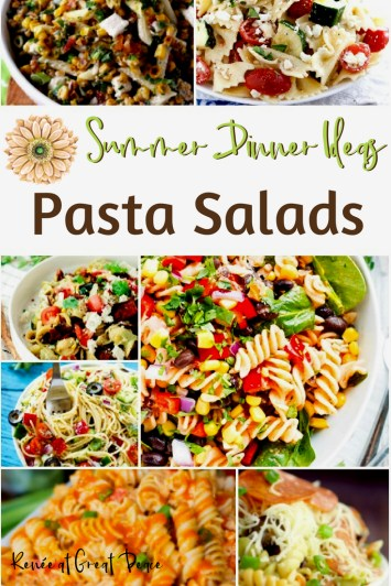 Summer Dinner Ideas Pasta Salads   Renée at Great Peace #mealplanning #summerdinner #pastasalads #family