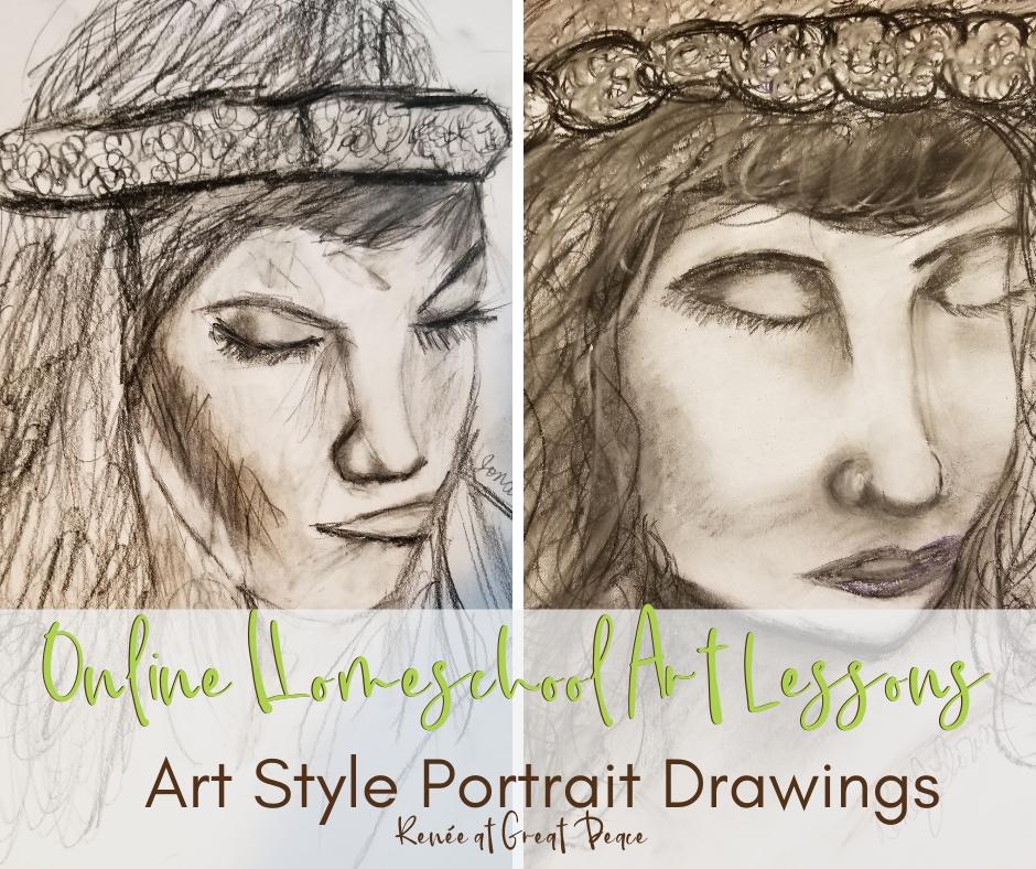 Homeschool Art Lessons Portrait Drawings side by side comparison. | Renée at Great Peace