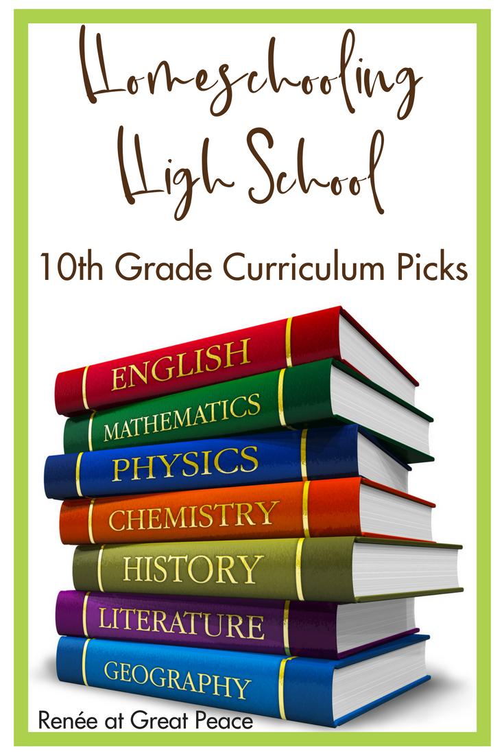 Homeschooling 10th Grade High School Curriculum Picks | Renée at Great Peace #homeschool #ihsnet #curriculum #highschool
