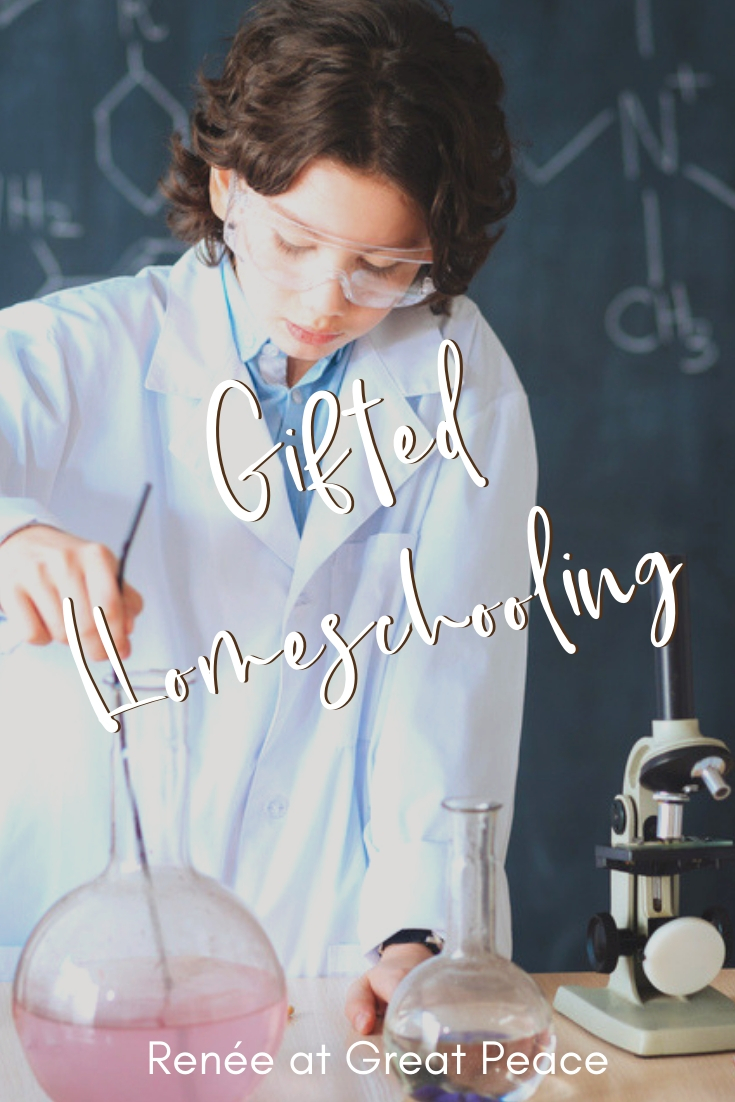 Gifted Homeschooling for the Overwhelmed Mom-Discovering that you have a child with advanced learning tendencies can seem daunting. But, you can do gifted homeschooling with helpful resources.| Renée at Great Peace #gifted #homeschooling #ihsnet #gtchat